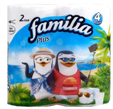 Familia Plus Туалетная бумага Белая 2 слоя 4 рулона